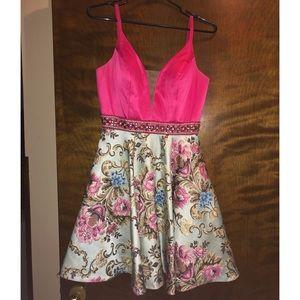 Dresses & Skirts - Hannah S Homecoming Dress Pink Top/Floral Skirt